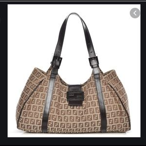 Authentic FENDI Zucca brown shoulder bag